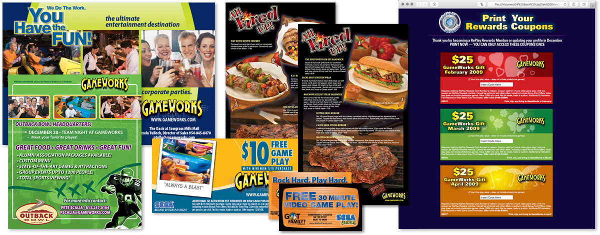 A variety of GameWorks print projects